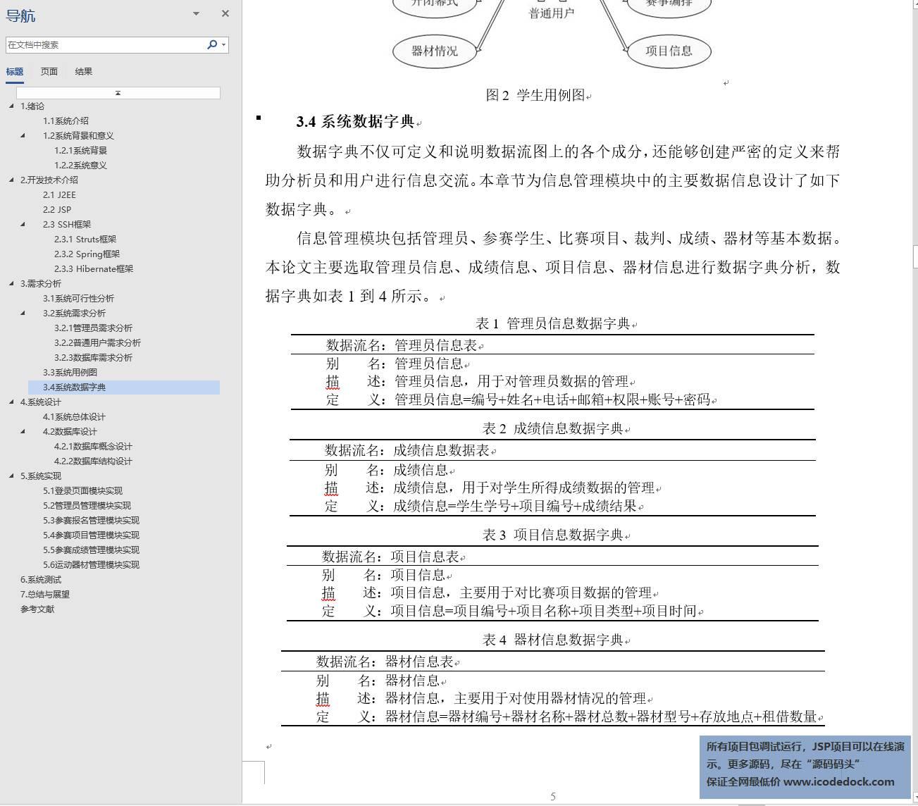 源码码头-SSH校园运动会管理系统-设计文稿-数据字典
