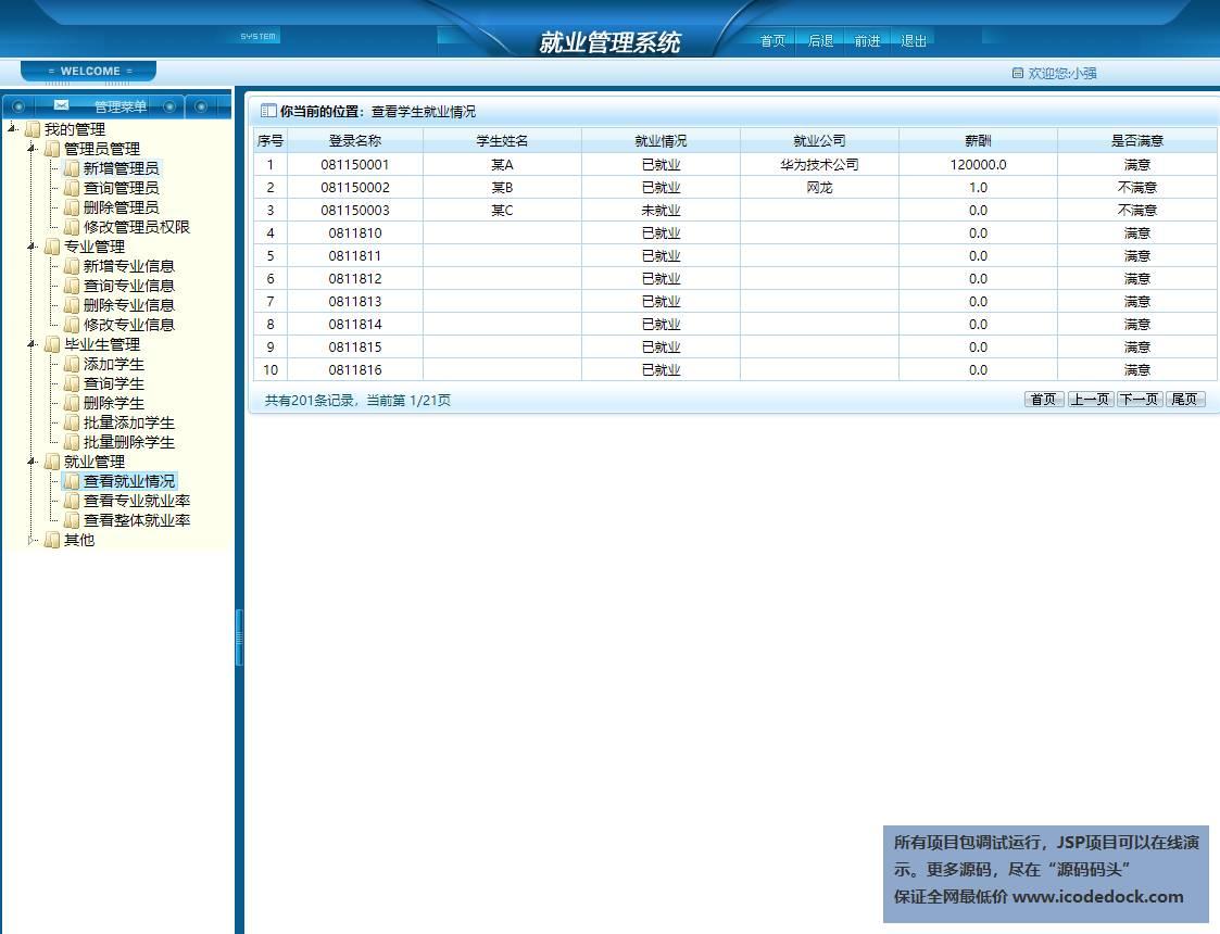 源码码头-SSH毕业生去向登记就业管理系统-管理员角色-就业情况统计