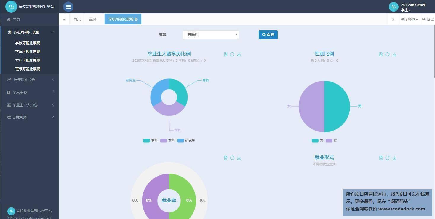 源码码头-SSH毕业生离校就业分析管理平台-学生角色-学校可视化管理