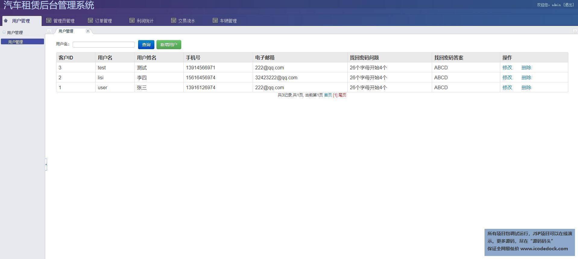 源码码头-SSH汽车出租平台租赁网站平台-管理员角色-用户管理