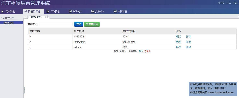 源码码头-SSH汽车出租平台租赁网站平台-管理员角色-管理员管理