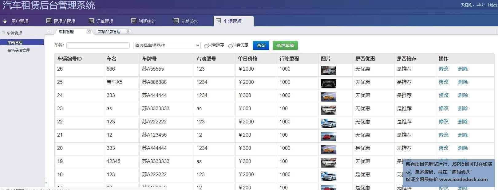 源码码头-SSH汽车出租平台租赁网站平台-管理员角色-车辆管理