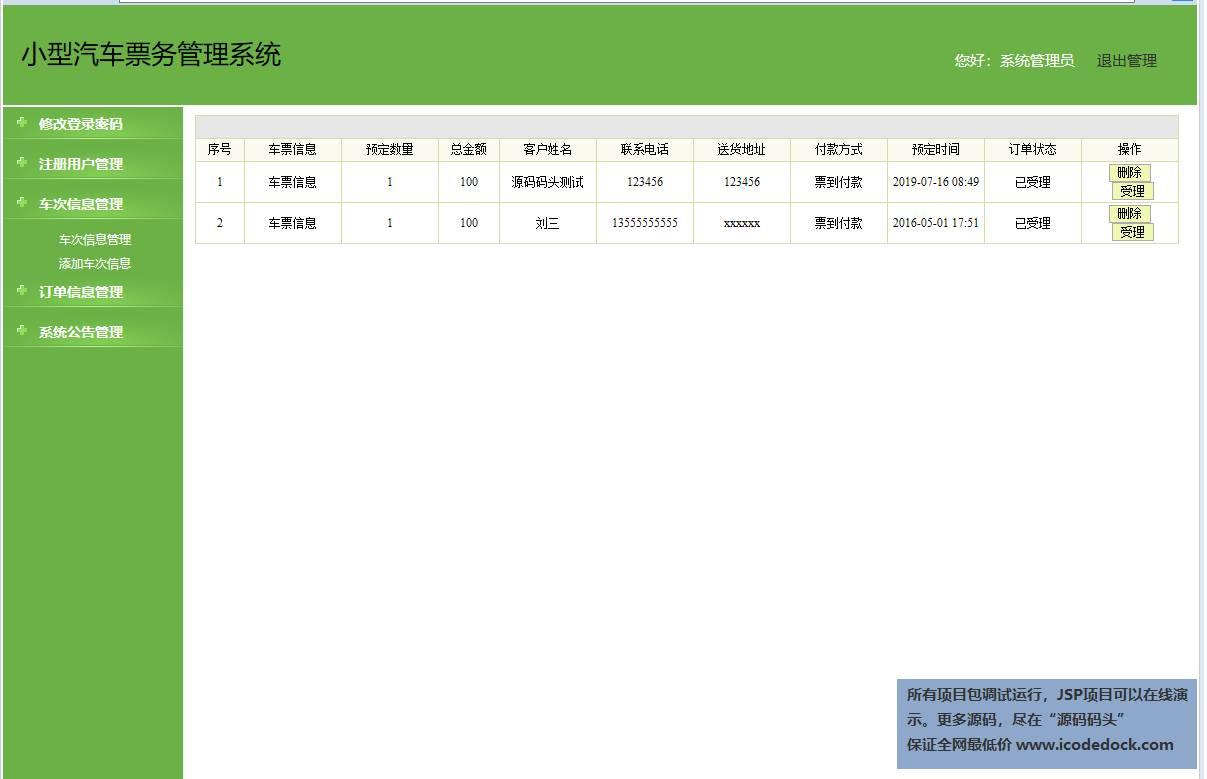 源码码头-SSH汽车票销售管理系统-管理员角色-订单管理