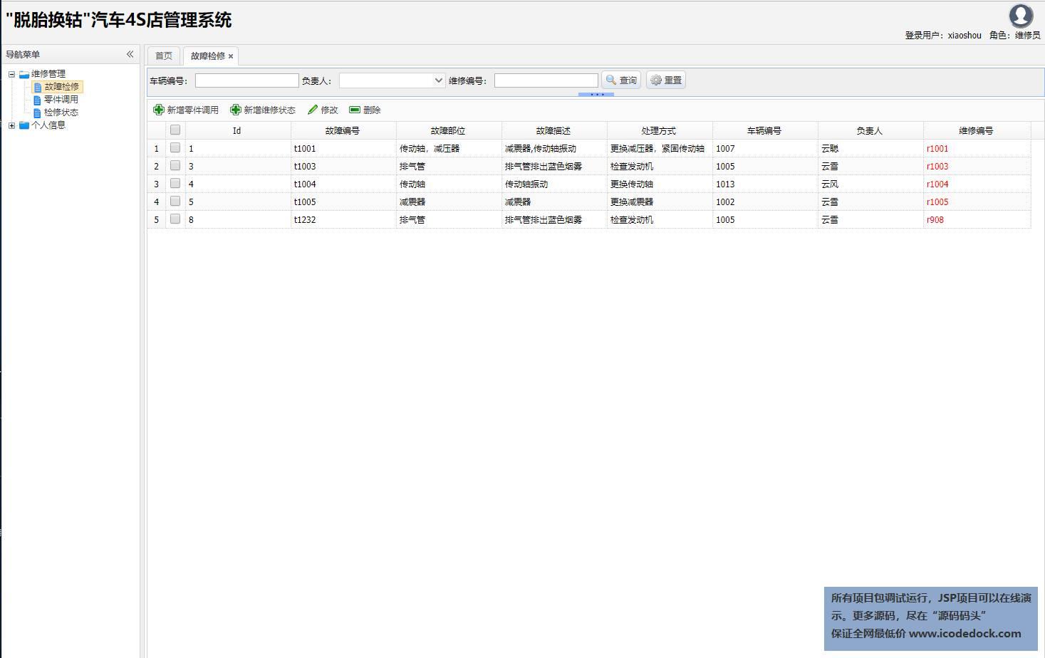 源码码头-SSH汽车4S店管理系统-维修员角色-故障维修