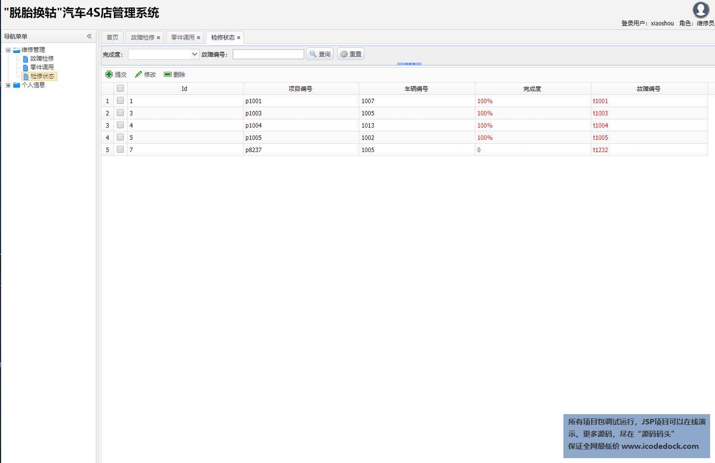 源码码头-SSH汽车4S店管理系统-维修员角色-检修状态