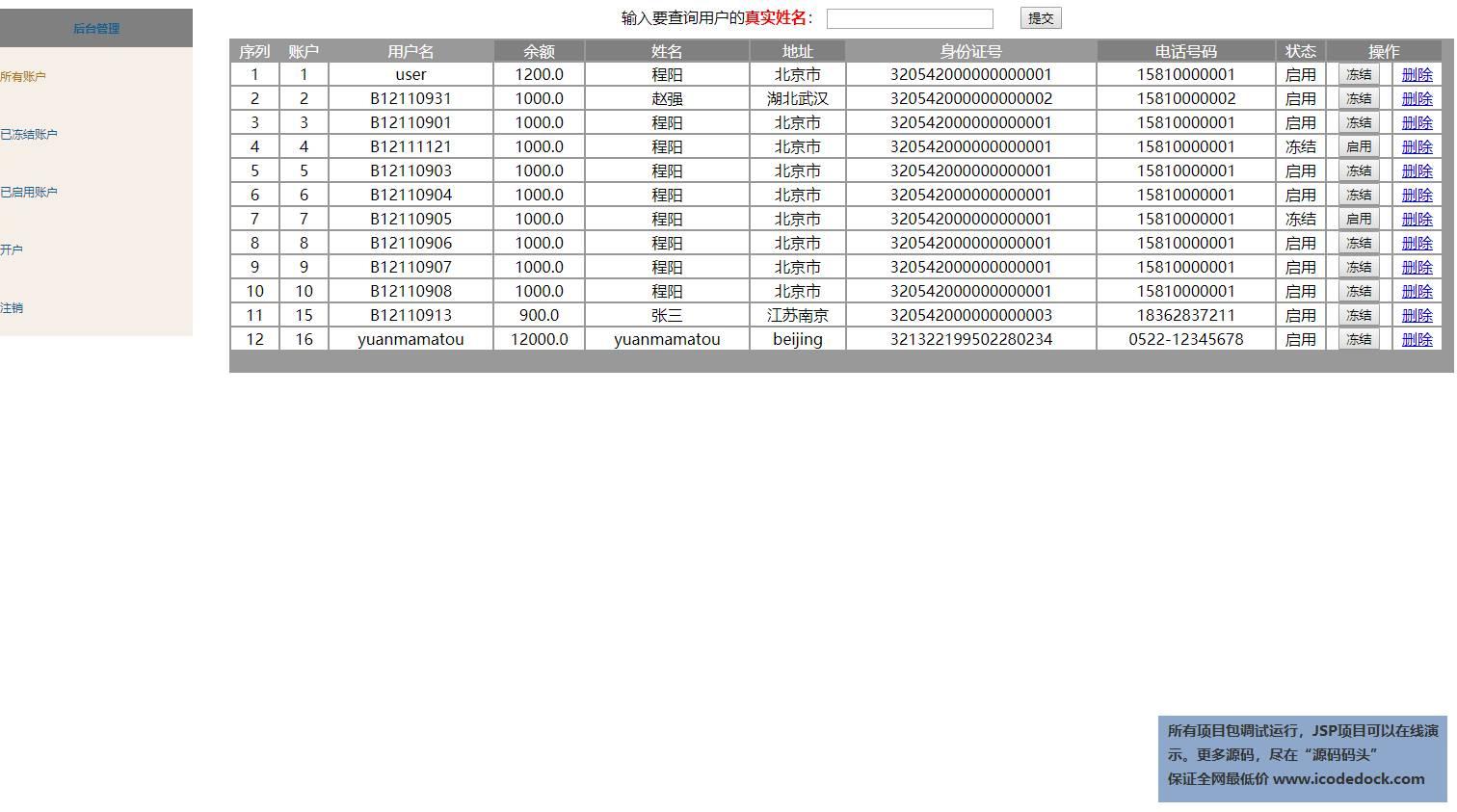 源码码头-SSH网上银行管理系统-管理员角色-管理账户