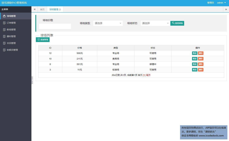 源码码头-SSH羽毛球馆管理系统-管理员角色-球场管理