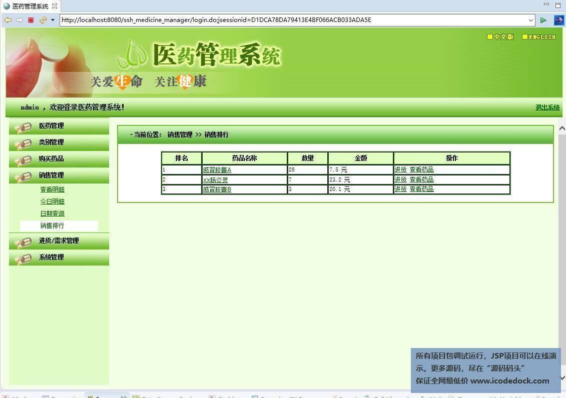 源码码头-SSH药品管理信息系统-管理员角色-销售排行