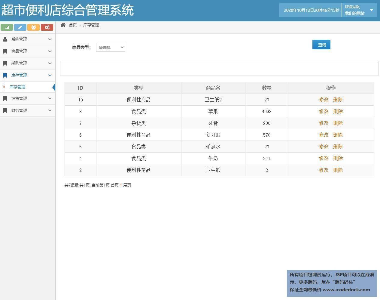 源码码头-SSH超市便利店综合管理系统-管理员角色-库存管理