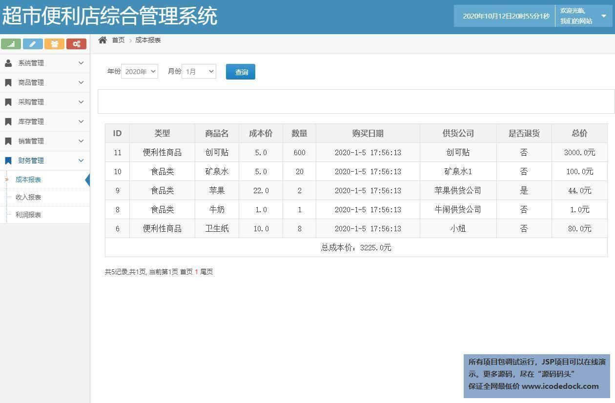 源码码头-SSH超市便利店综合管理系统-管理员角色-成本报表统计