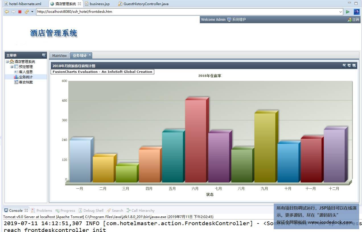 源码码头-SSH酒店管理系统-业务统计