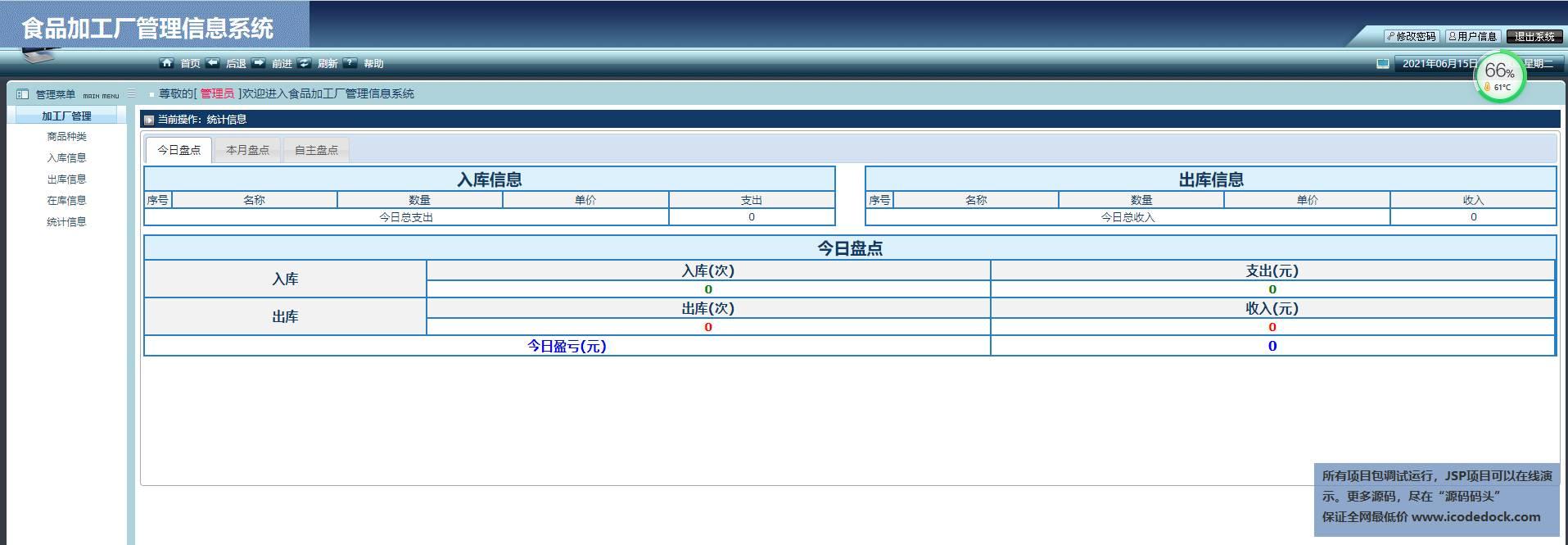 源码码头-SSH食品加工厂管理系统-管理员角色-查看统计信息