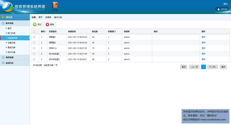 源码码头-SSH高校科研实验室设备智能管理平台-管理员角色-管理实验室信息