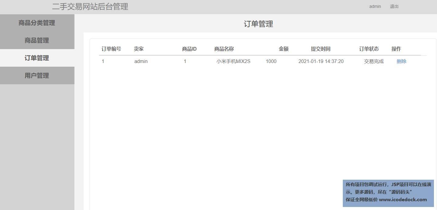 源码码头-SSM二手交易网站-管理员角色-商品订单管理