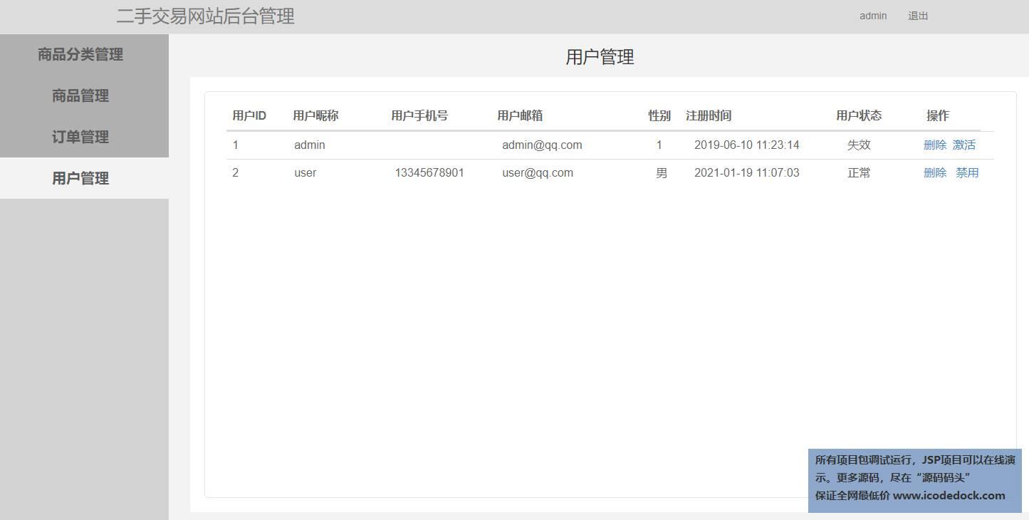 源码码头-SSM二手交易网站-管理员角色-用户管理