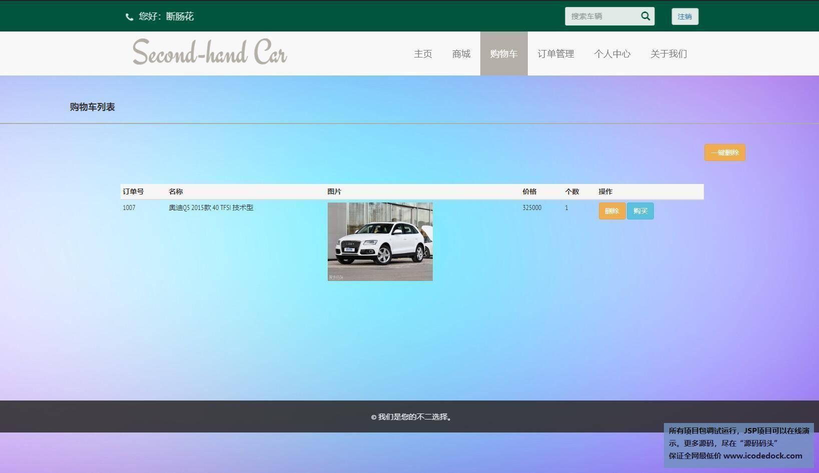 源码码头-SSM二手汽车交易商城网站管理系统-用户角色-查看购物车