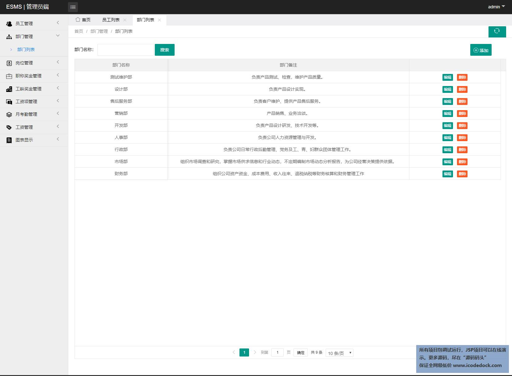 源码码头-SSM企业OA管理系统-管理员角色-部门管理