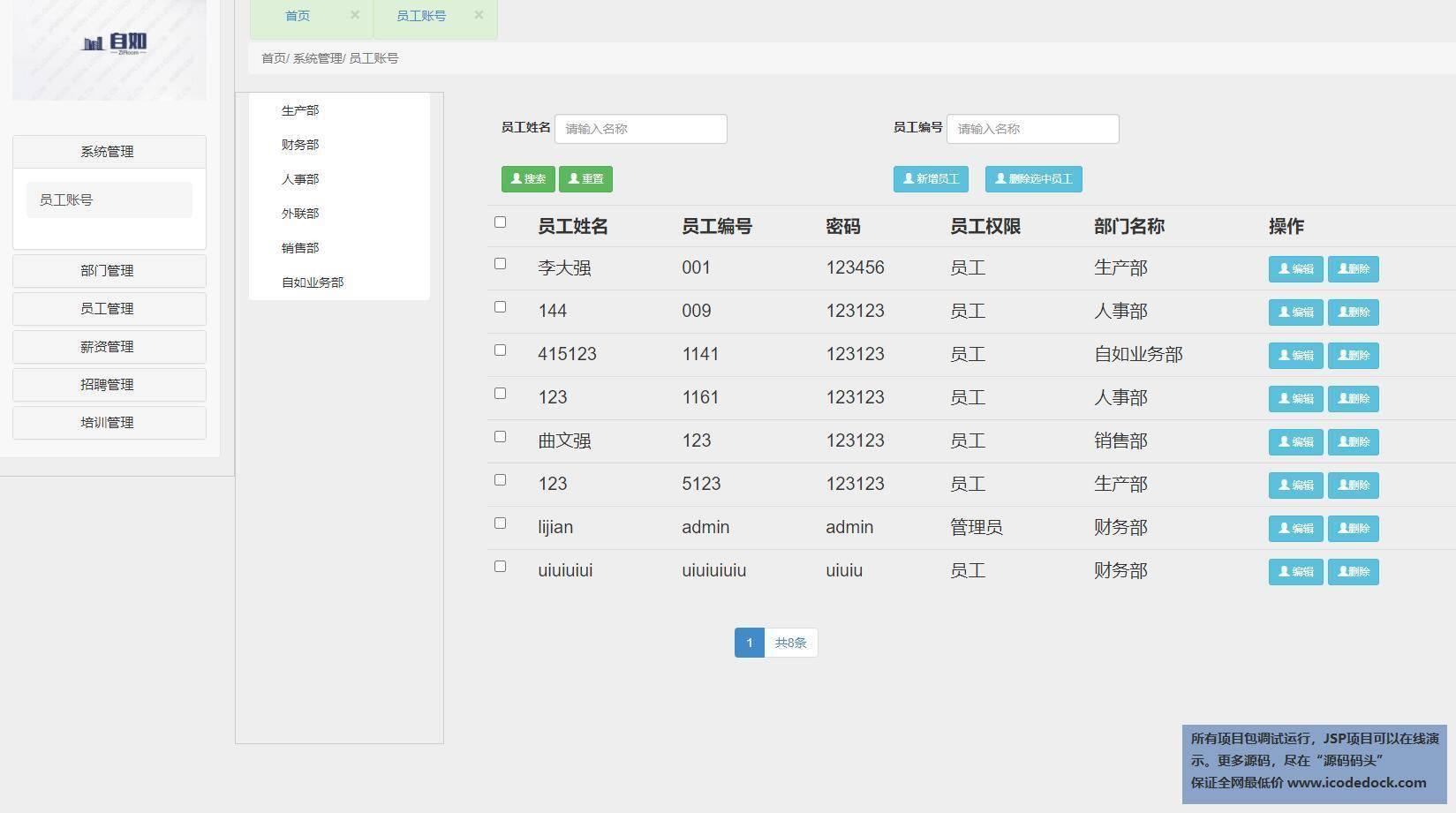 源码码头-SSM公司人力资源管理系统-管理员角色-员工账号