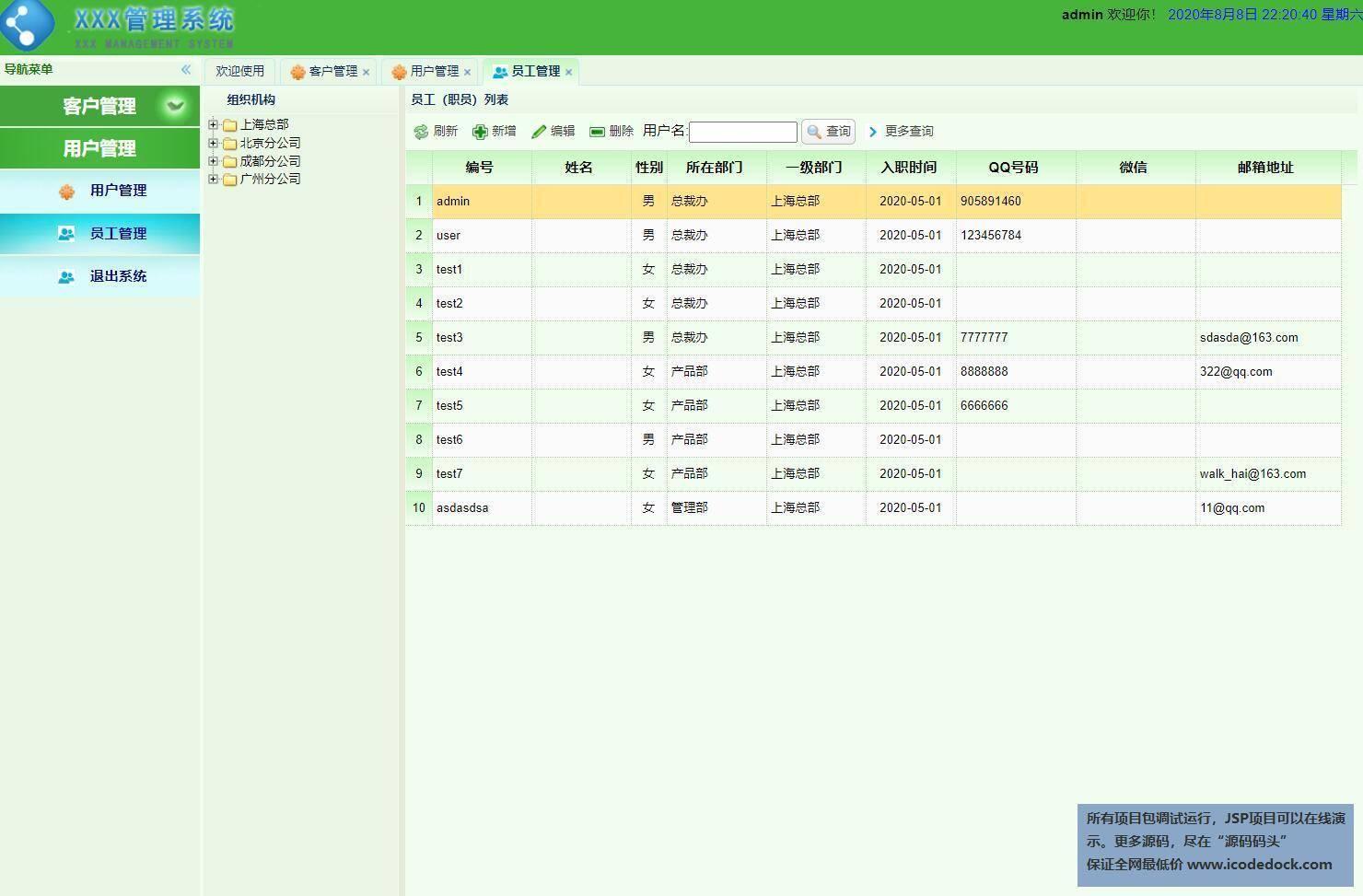 源码码头-SSM公司客户关系管理系统-管理员角色-员工管理