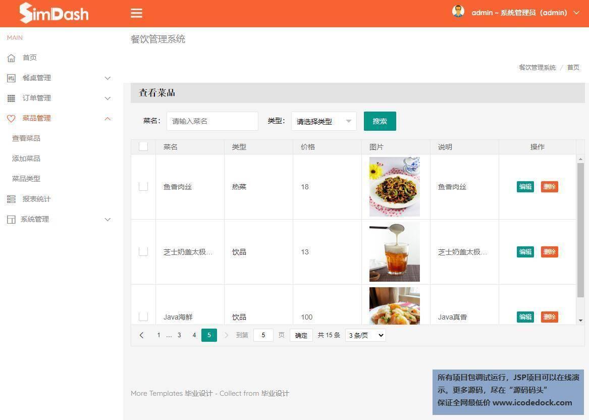 源码码头-SSM商场餐厅管理系统-管理员角色-菜品管理