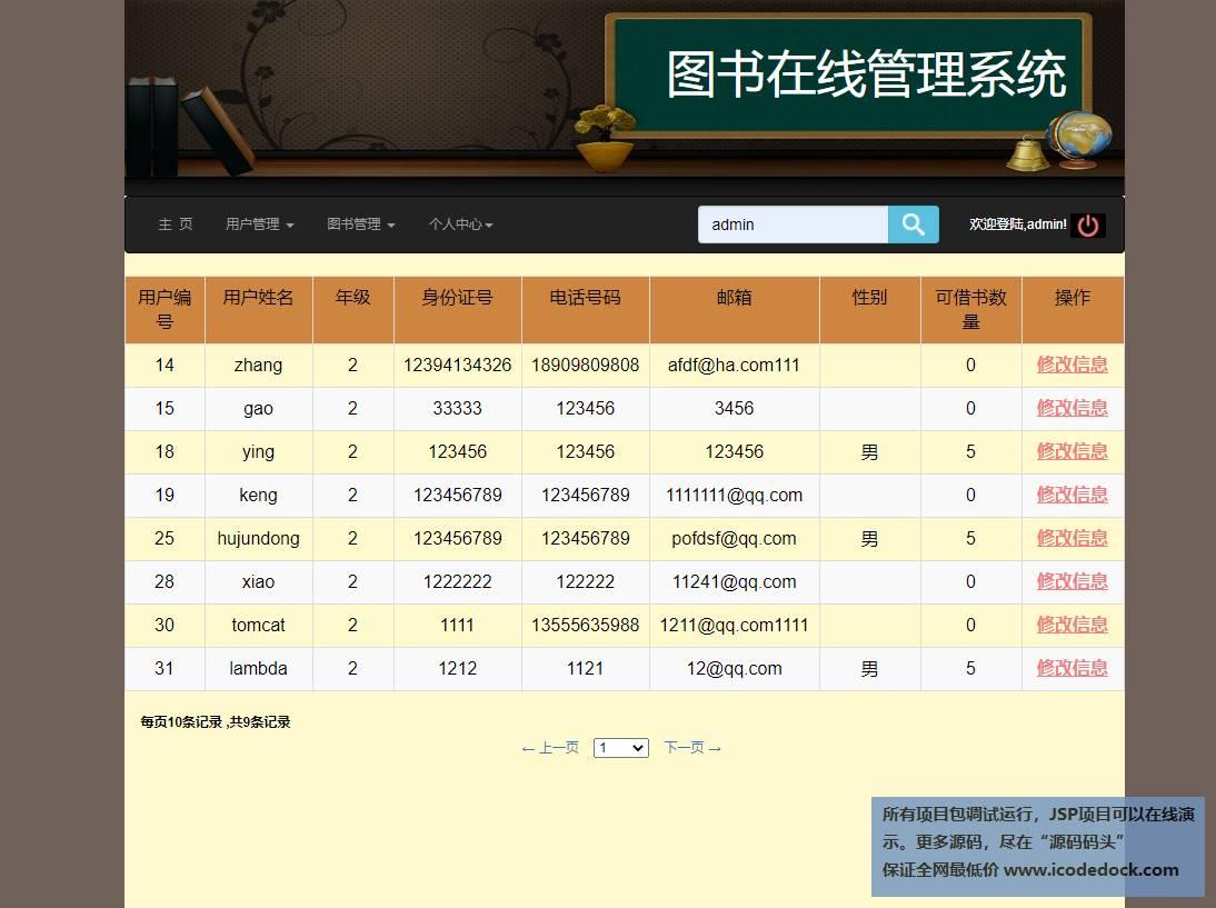 源码码头-SSM图书馆图书借阅管理系统-管理员角色-用户管理