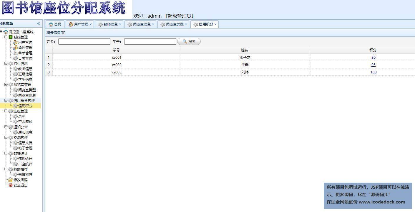 源码码头-SSM图书馆座位预约管理系统-管理员角色-信用积分管理