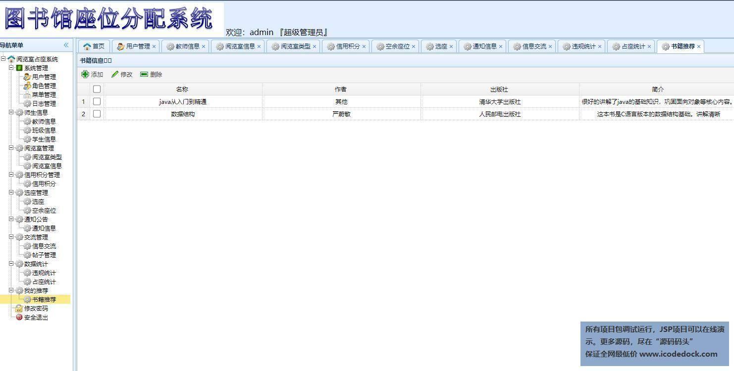 源码码头-SSM图书馆座位预约管理系统-管理员角色-图书推荐