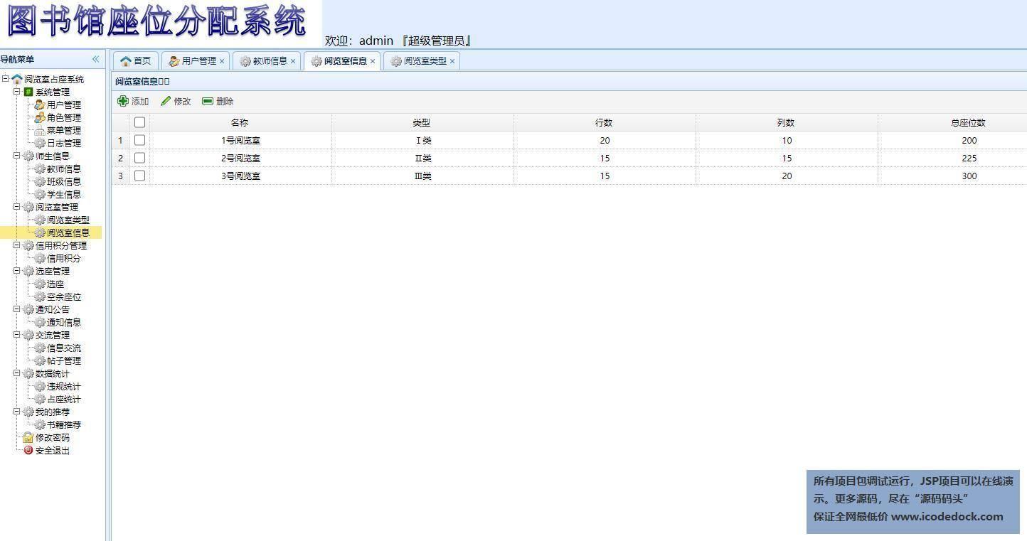 源码码头-SSM图书馆座位预约管理系统-管理员角色-阅览室管理