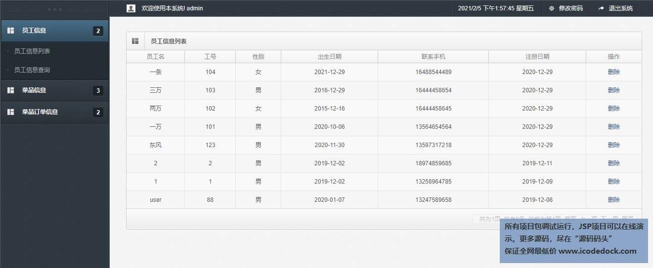 源码码头-SSM在线员工订餐网站平台-管理员角色-员工信息管理