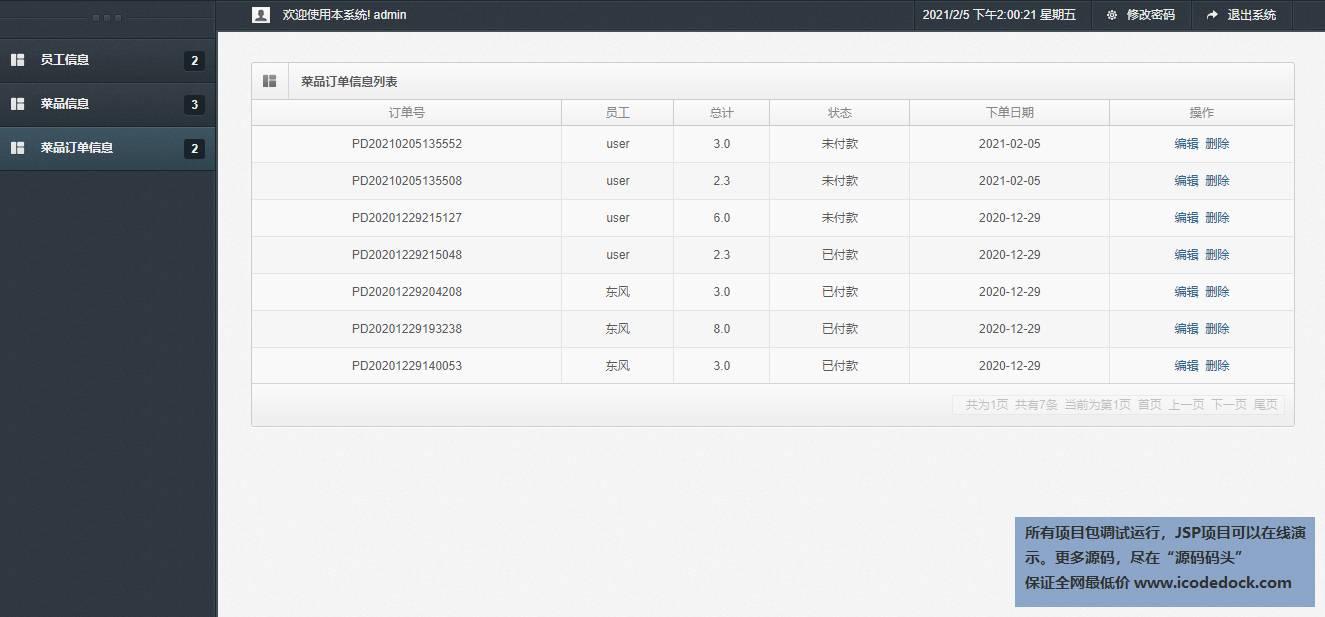源码码头-SSM在线员工订餐网站平台-管理员角色-订单信息管理