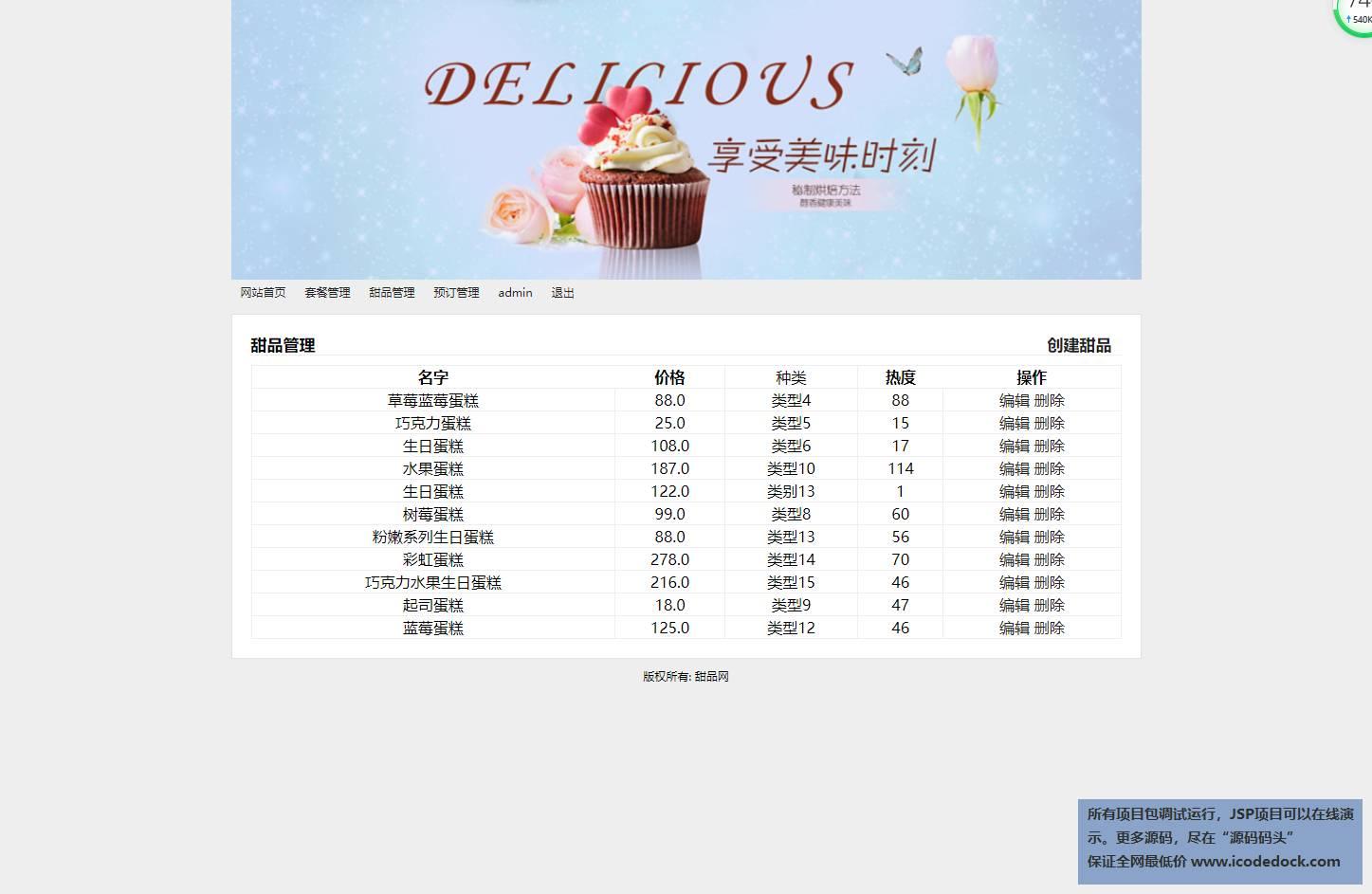 源码码头-SSM在线甜品商城平台-管理员角色-甜品管理