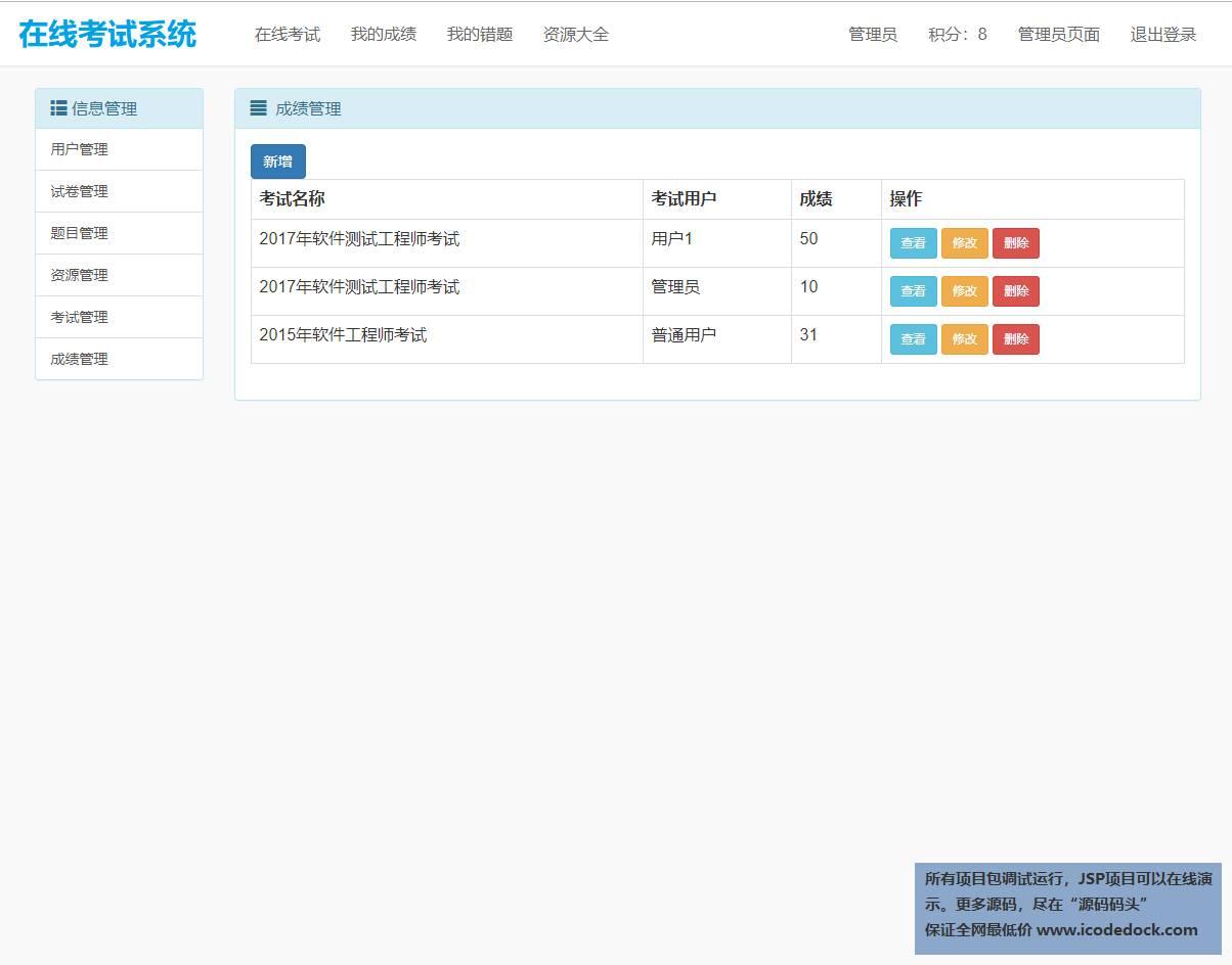 源码码头-SSM在线考试管理系统-管理员角色-成绩管理