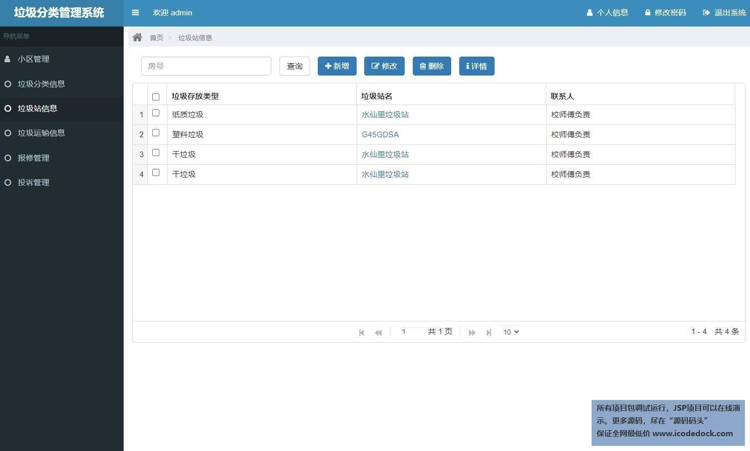 源码码头-SSM实现的垃圾分类管理系统-管理员角色-垃圾站信息管理