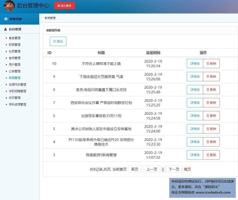 源码码头-SSM实现的校园门户平台网站系统-管理员角色-新闻管理