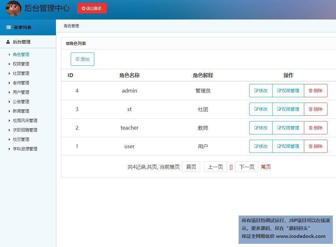 源码码头-SSM实现的校园门户平台网站系统-管理员角色-角色管理