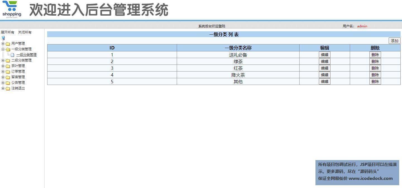 源码码头-SSM实现茶叶电商销售商城-管理员角色-茶叶分类管理