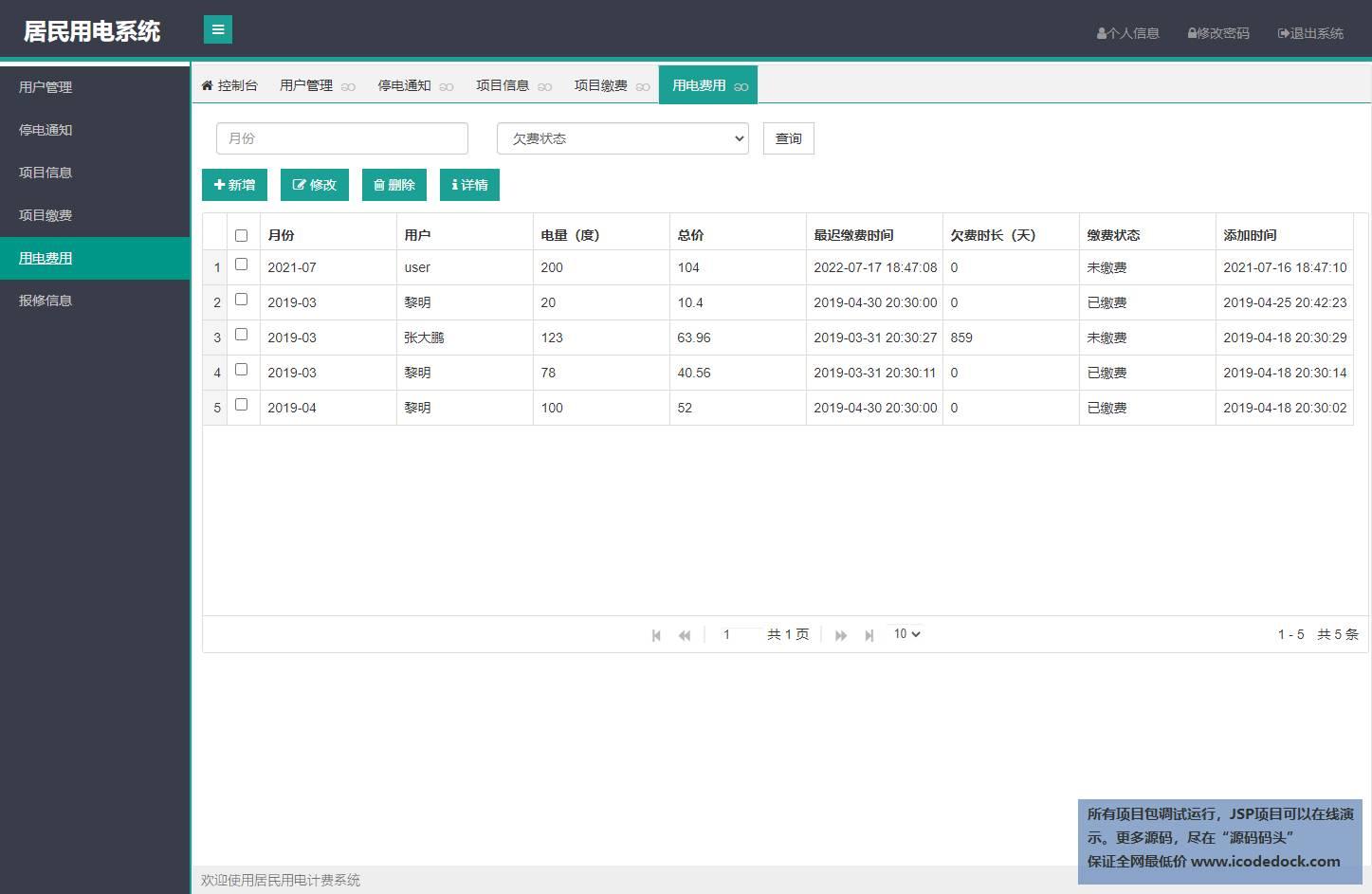 源码码头-SSM居民用电计费管理系统-管理员角色-用电费用管理