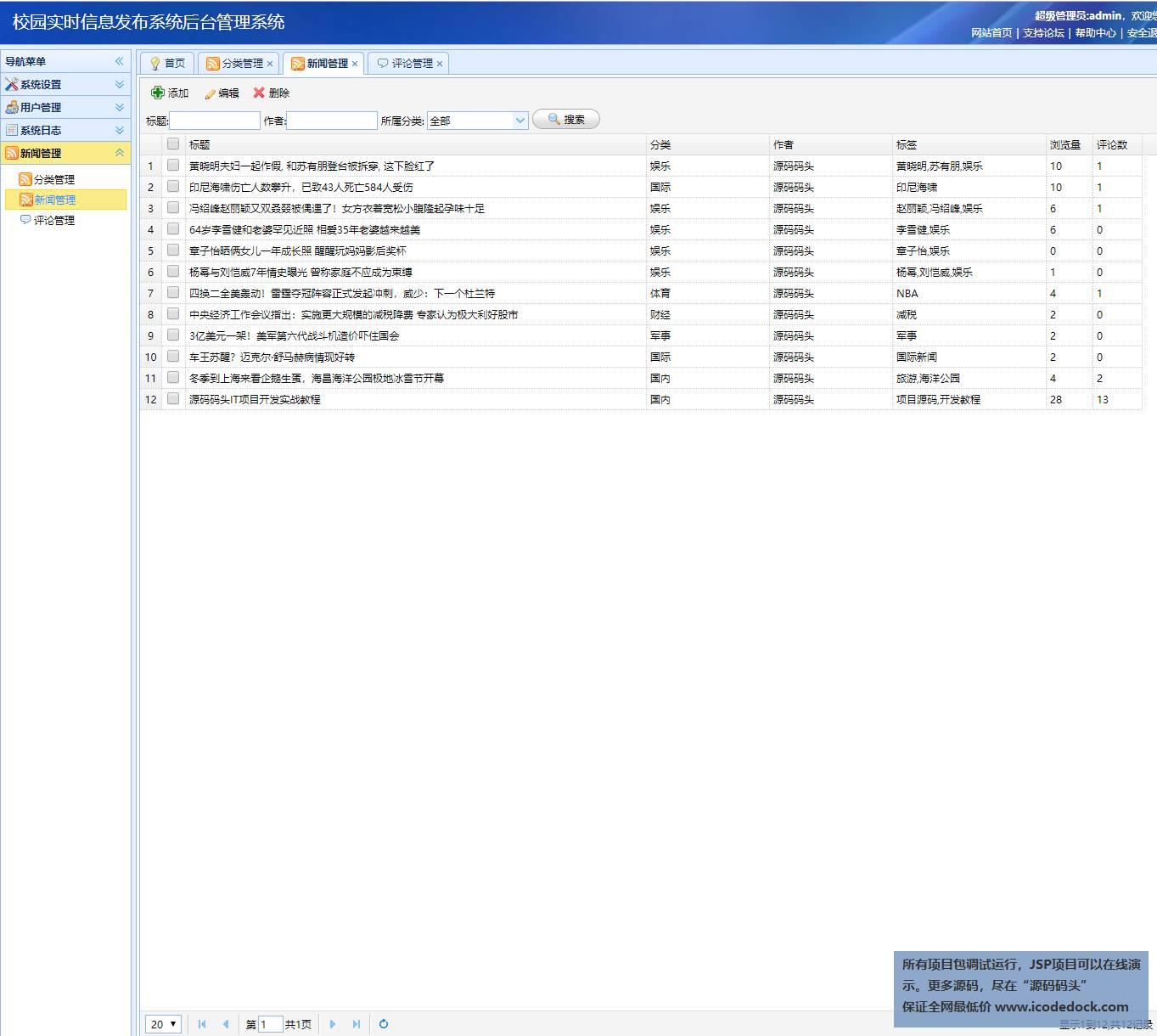 源码码头-SSM新闻发布管理系统-管理员角色-新闻管理