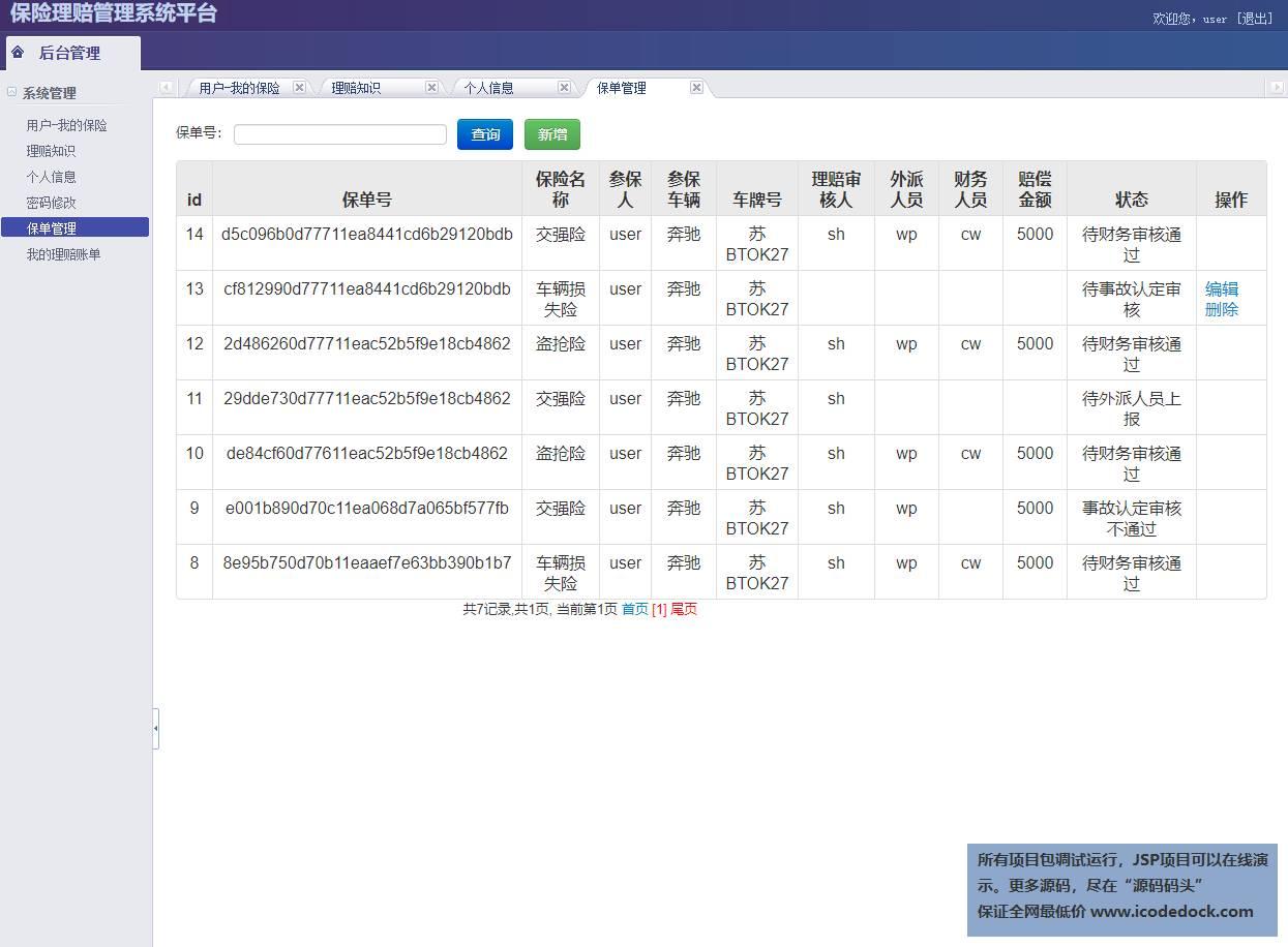 源码码头-SSM汽车保险理赔管理系统-用户角色-提交的保单管理