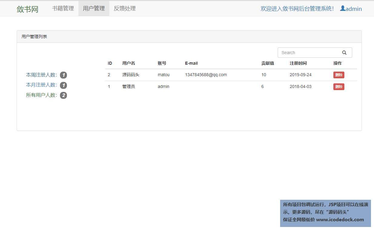 源码码头-SSM电子书网站管理系统-管理员角色-用户管理