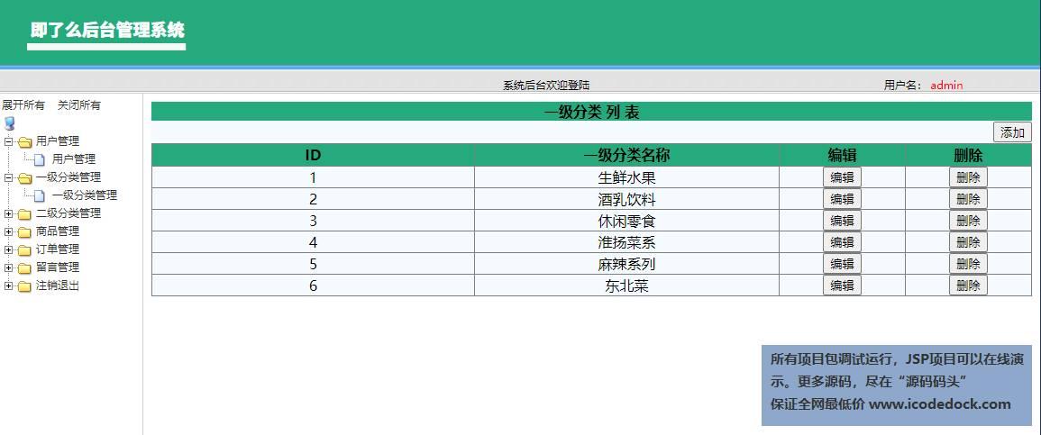 源码码头-SSM网上外卖订餐管理系统修改前端版本-管理员角色-一级分类管理