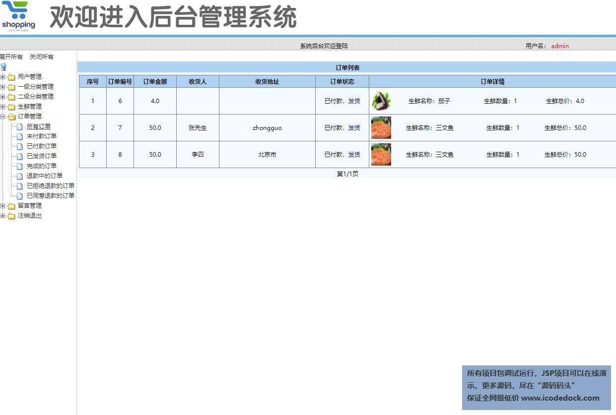 源码码头-SSM网上水果生鲜超市商城管理系统-管理员角色-订单管理