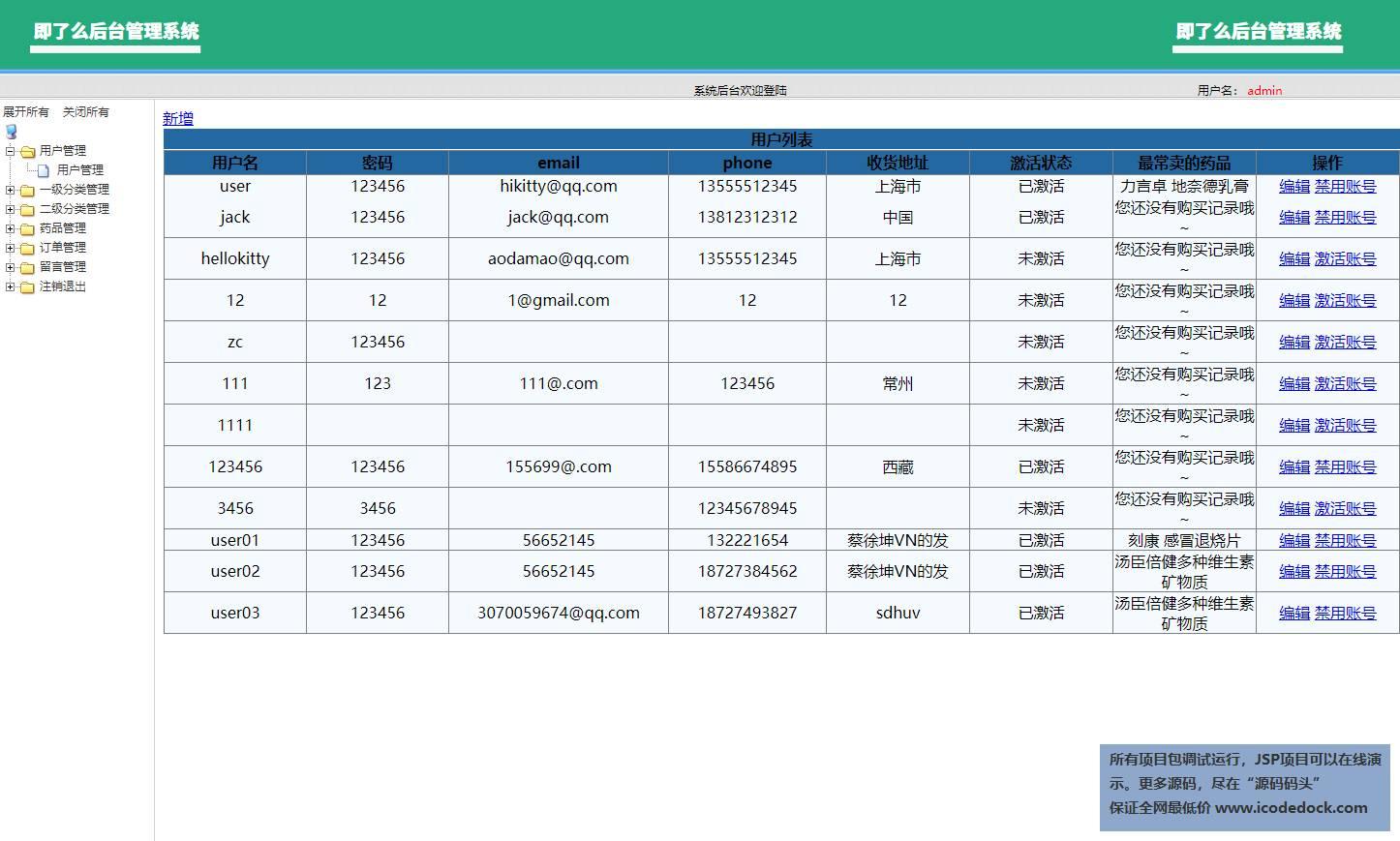 源码码头-SSM网上药品销售商城网站系统-管理员角色-用户管理