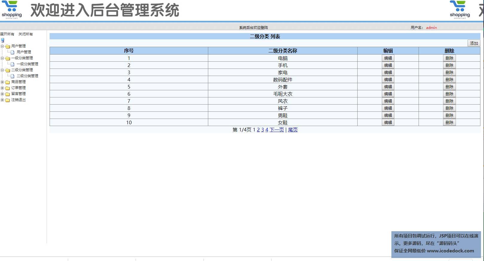 源码码头-SSM网上超市购物商城管理系统-管理员角色-二级分类管理