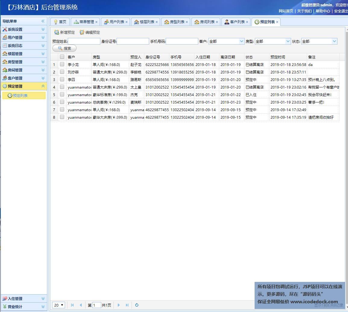 源码码头-SSM酒店预定管理系统-管理员角色-预定管理