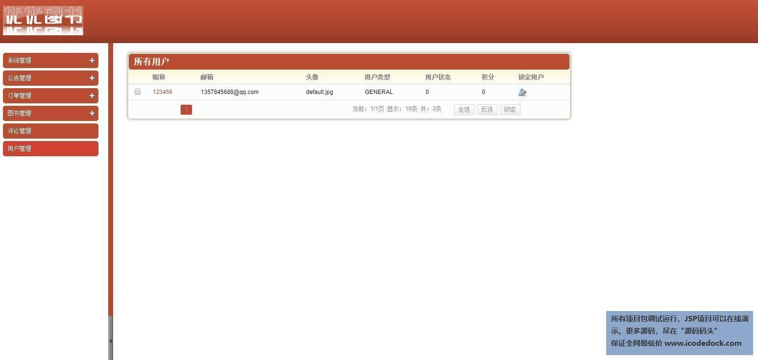 源码码头-Spring图书销售管理系统-管理员角色-用户管理