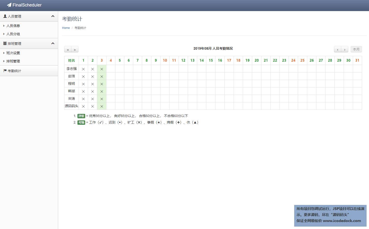 源码码头-Spring自动排班管理系统-管理员角色-考勤展示(demo)