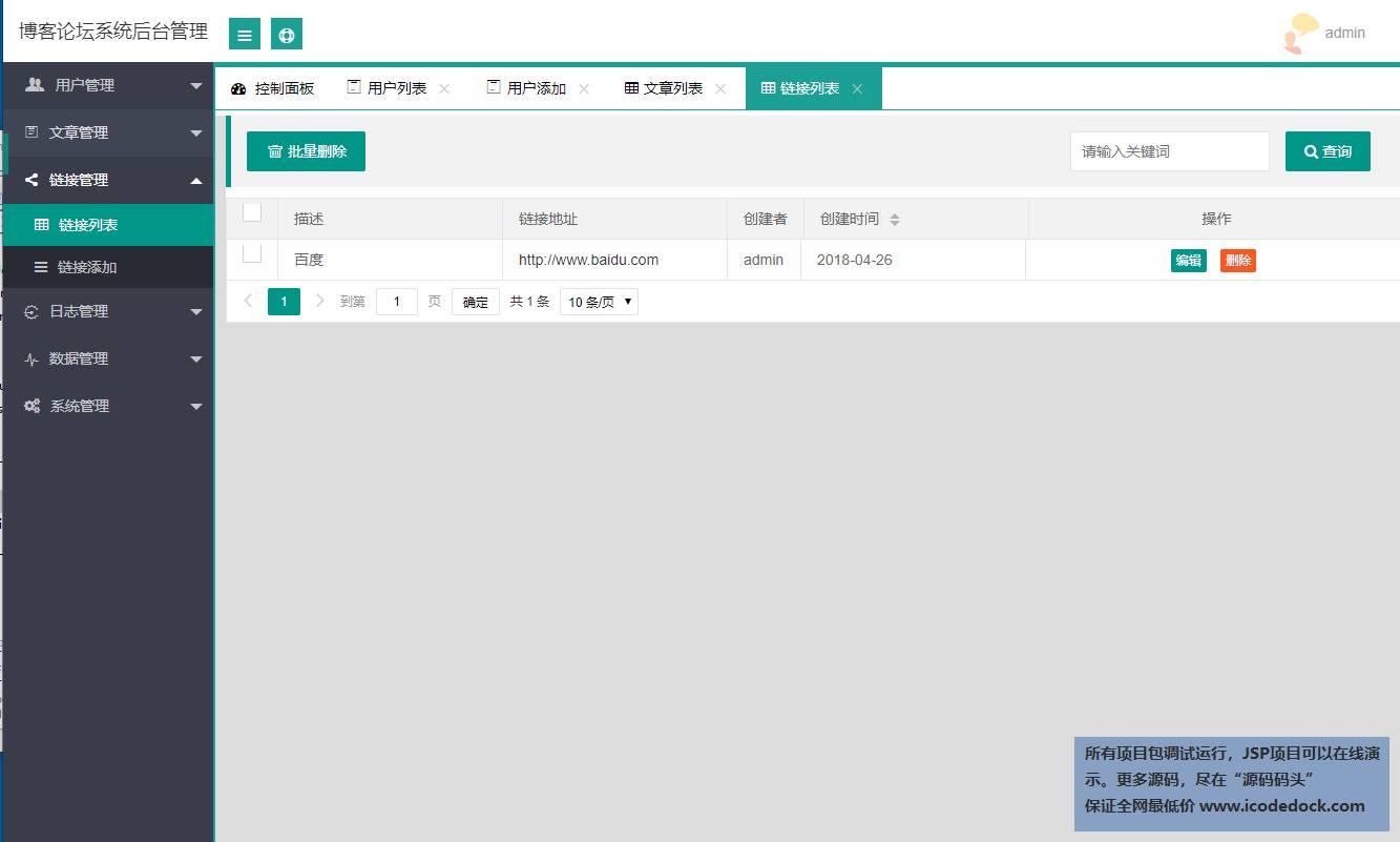 源码码头-SpringBoot博客论坛管理系统-管理员角色-链接增删改查