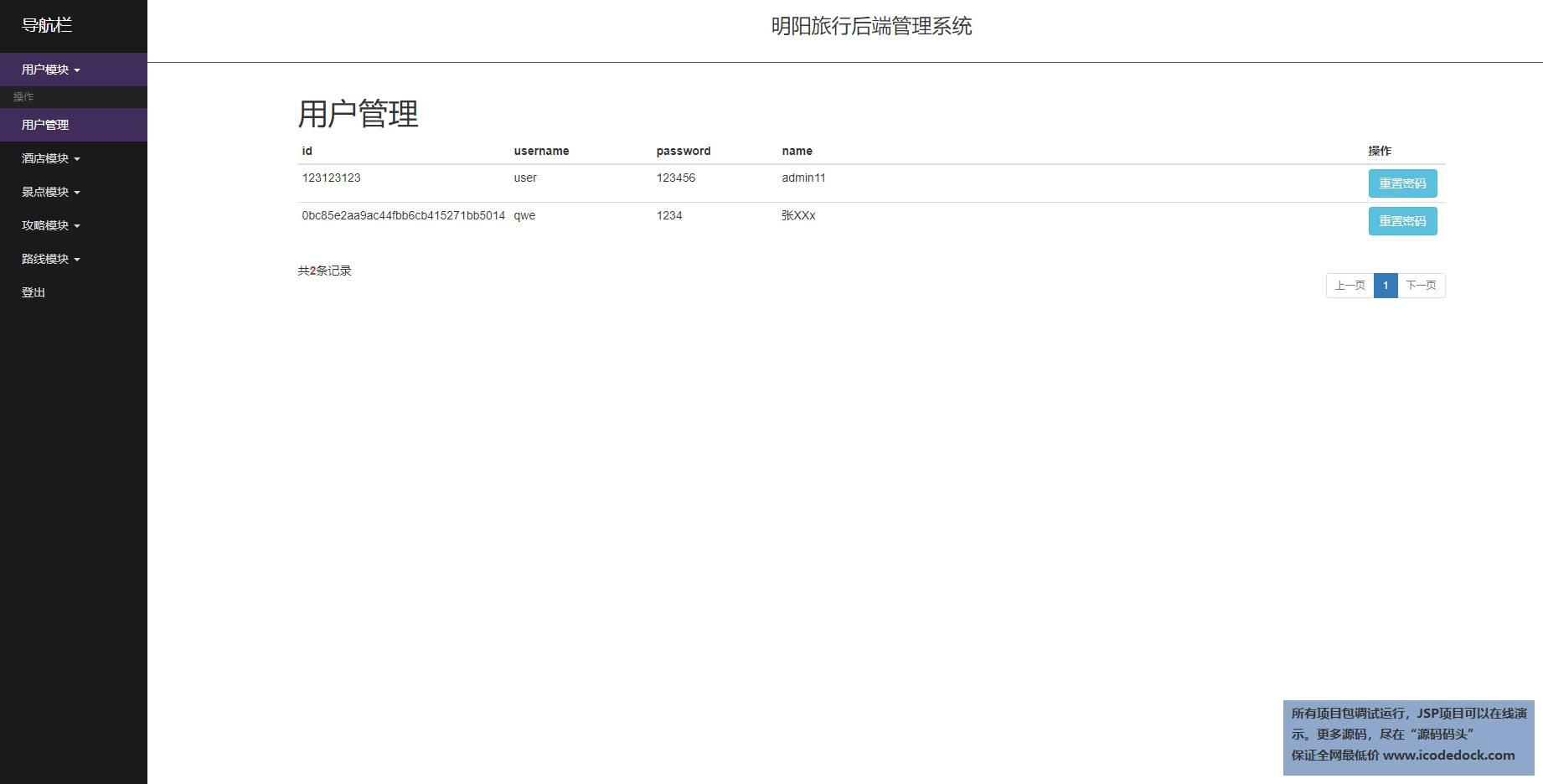 源码码头-SpringBoot旅游综合服务平台-管理员角色-用户管理