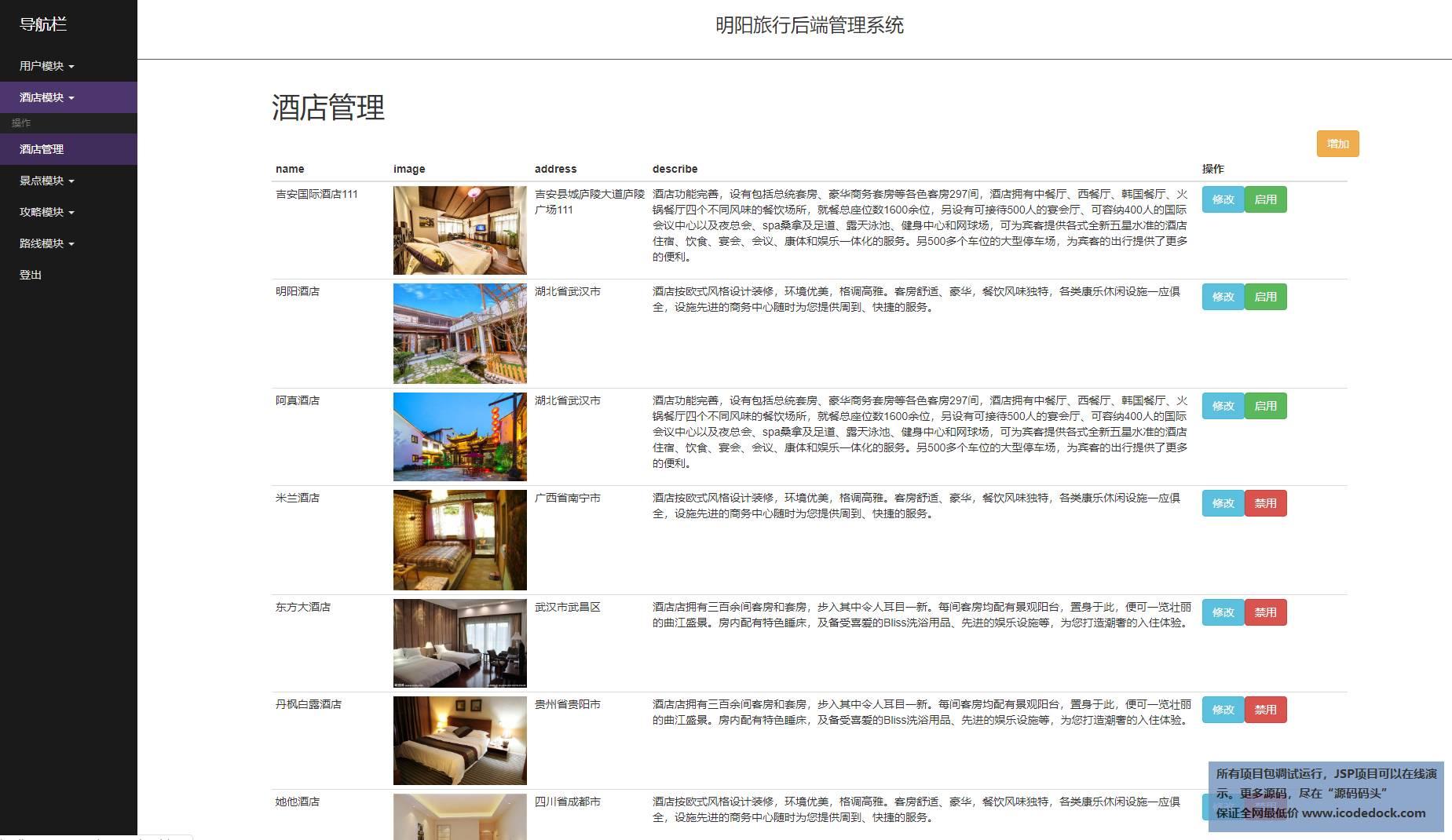 源码码头-SpringBoot旅游综合服务平台-管理员角色-酒店管理